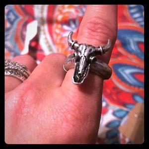 • NEW • Cow skull ring